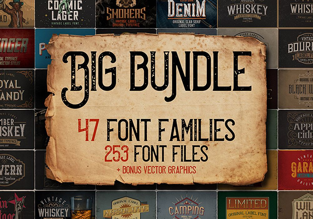 253种复古字体包 Big Vintage Fonts Bundle