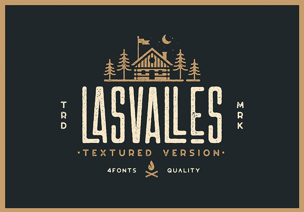 极具力量而优雅的纹理字体 Las Valles Textured Typeface