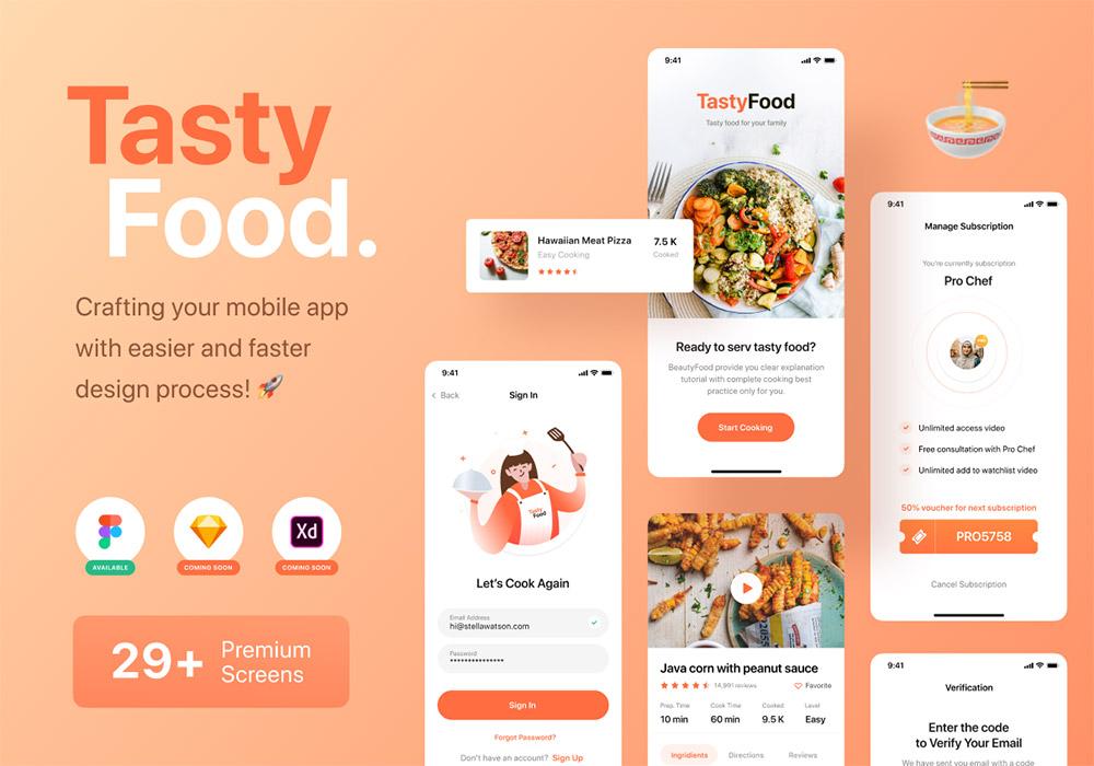烹饪课程应用UI套件 Tasty Food – Cooking Courses App UI Kit
