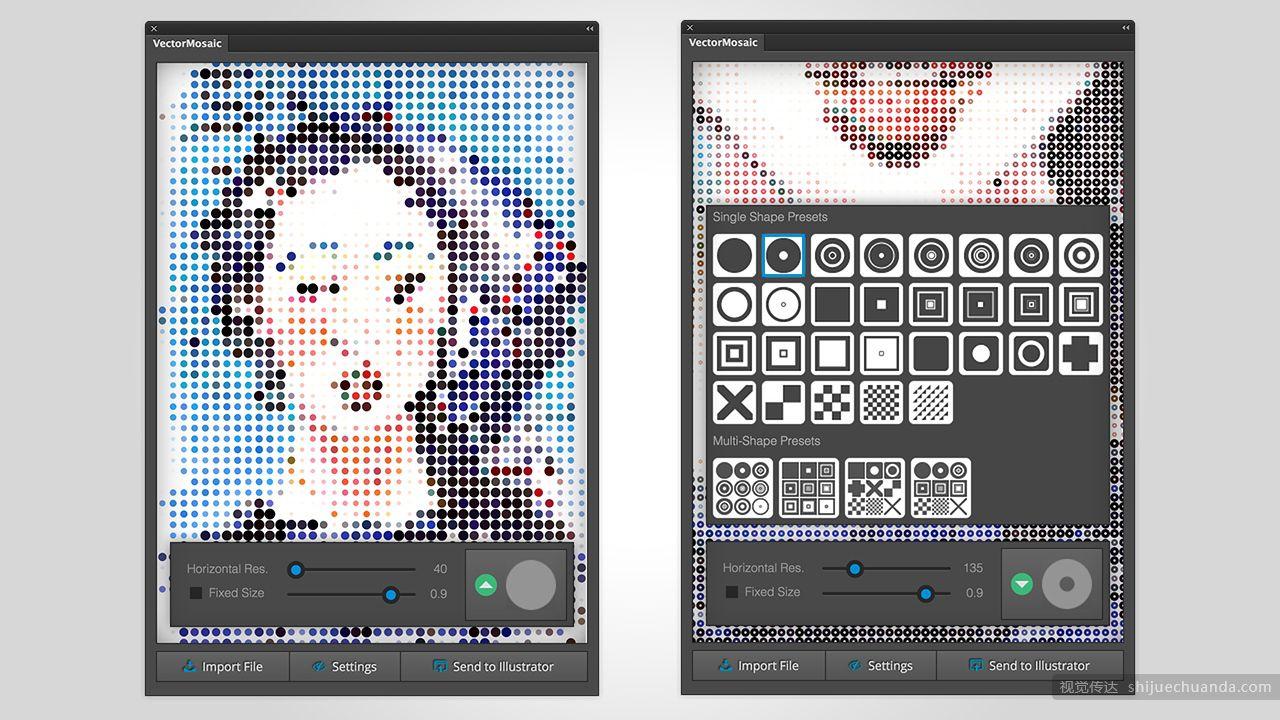 图片转矢量马赛克艺术效果AI插件 Vector Mosaic
