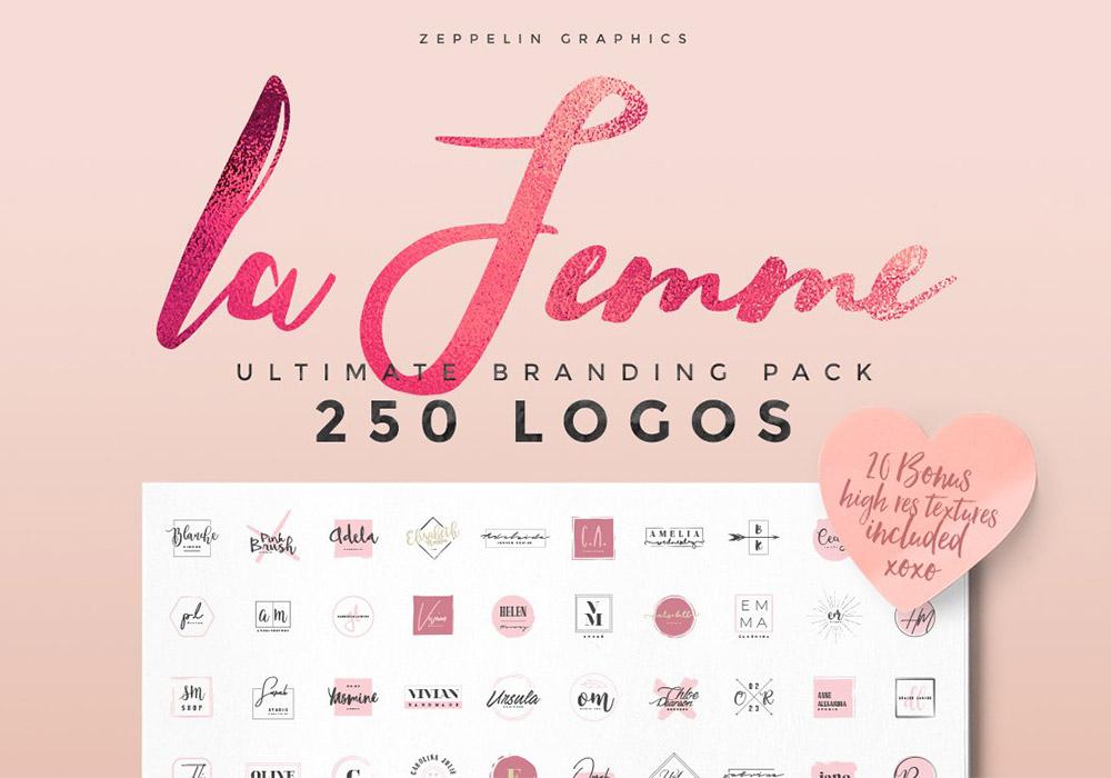 250个女性LOGO徽标设计包 Feminine Logos Pack