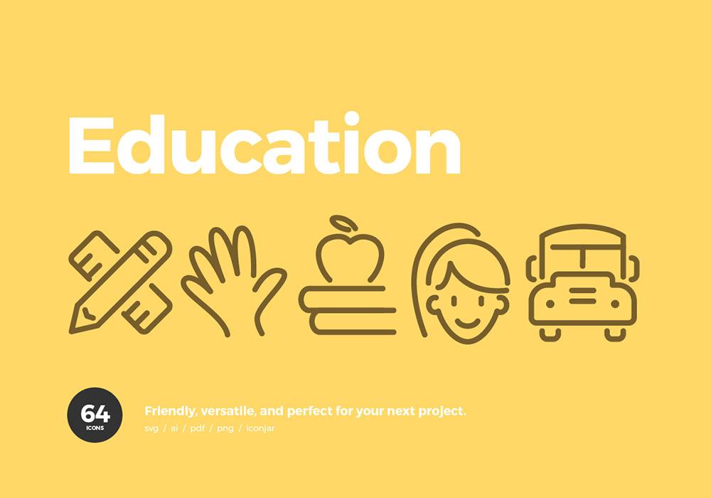 64个教育类高级图标集 Education Icons