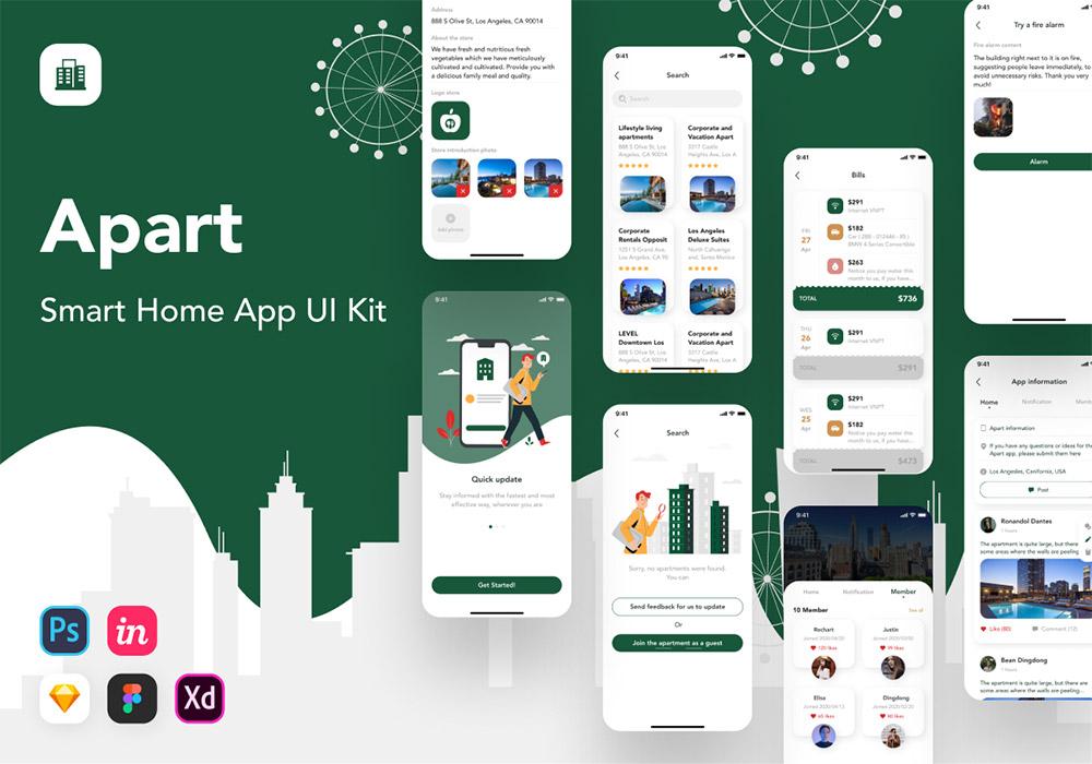 智能家居应用UI套件 Apart Smart Home App UI Kit