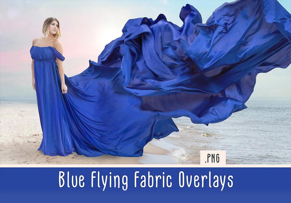 蓝色裙摆织物覆盖PNG元素 Blue Flying Fabric Overlays