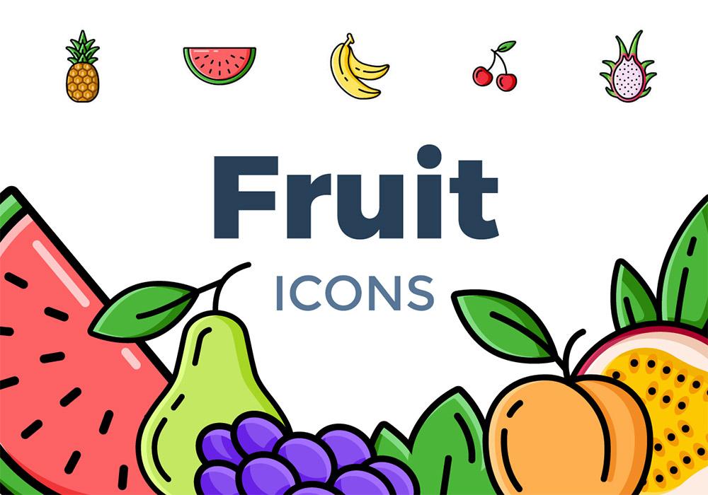 20种水果矢量图标集 Fruit Icons