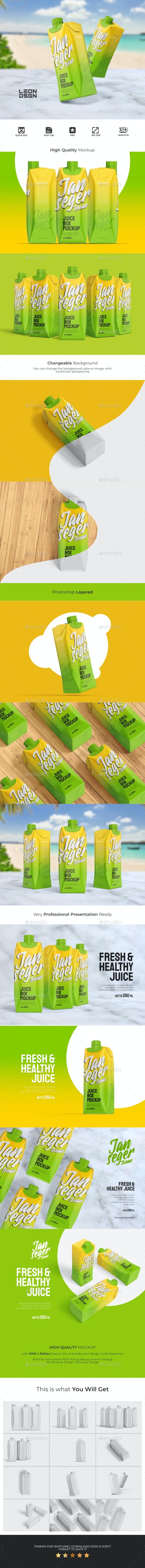 12个果汁盒包装样机模板