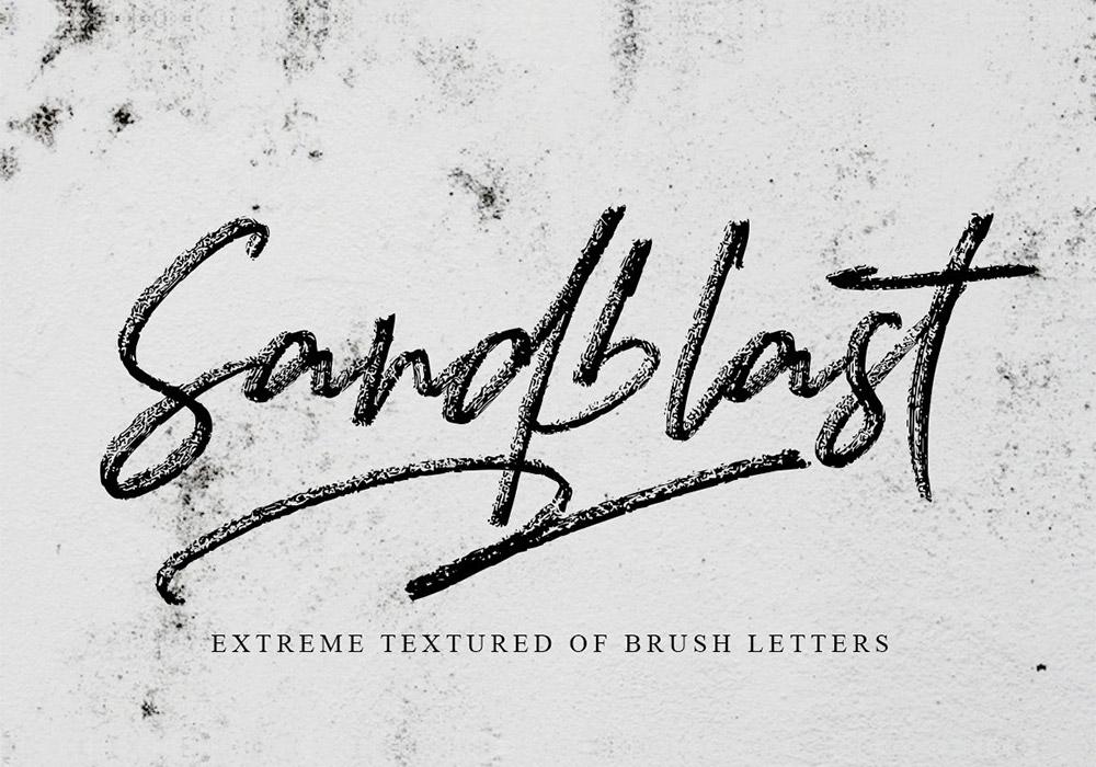 喷沙纹理质感笔刷字体 Sandblast Extreme Texture Brush Font
