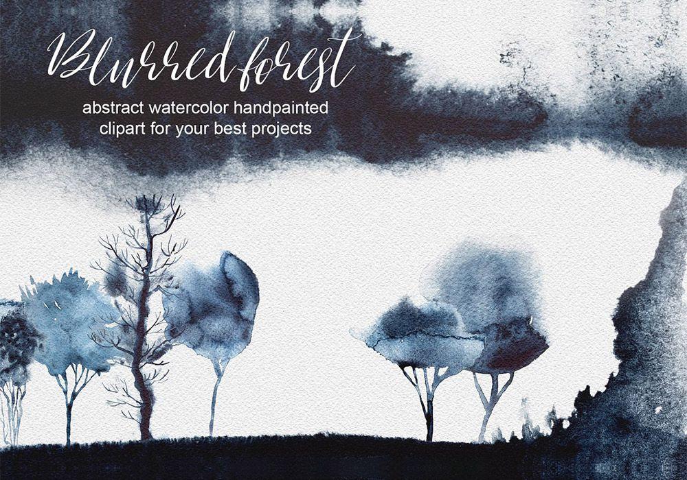 模糊水彩森林剪贴画PNG元素 Watercolor Blurred Forest Clipart
