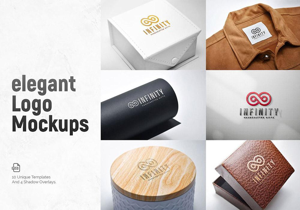 10个精品LOGO徽标样机贴图模板 Logos Mockups