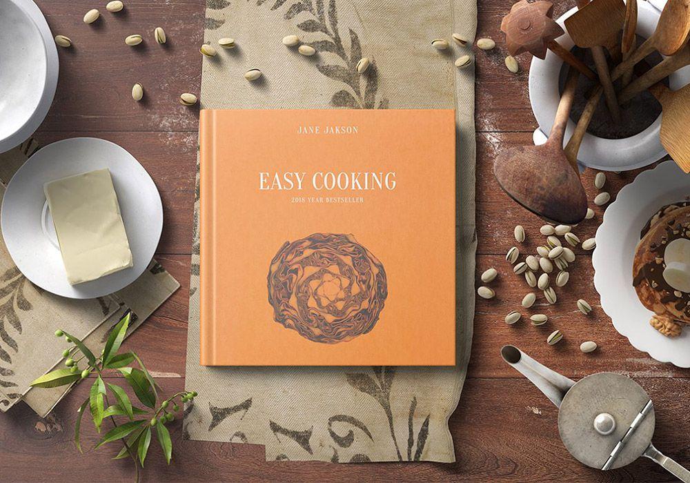 8个正方形烹饪书籍品牌手册样机 Square Hard Cover Cook Book Mockup