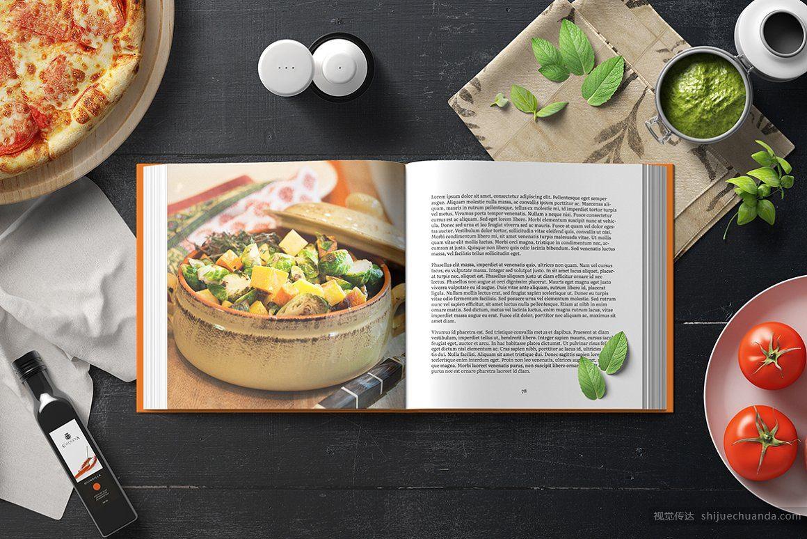 8个高端正方形菜谱品牌手册样机