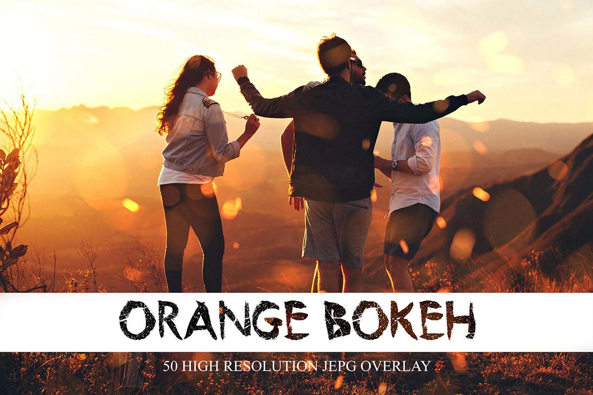 50张橙色光覆盖散景PS覆盖层