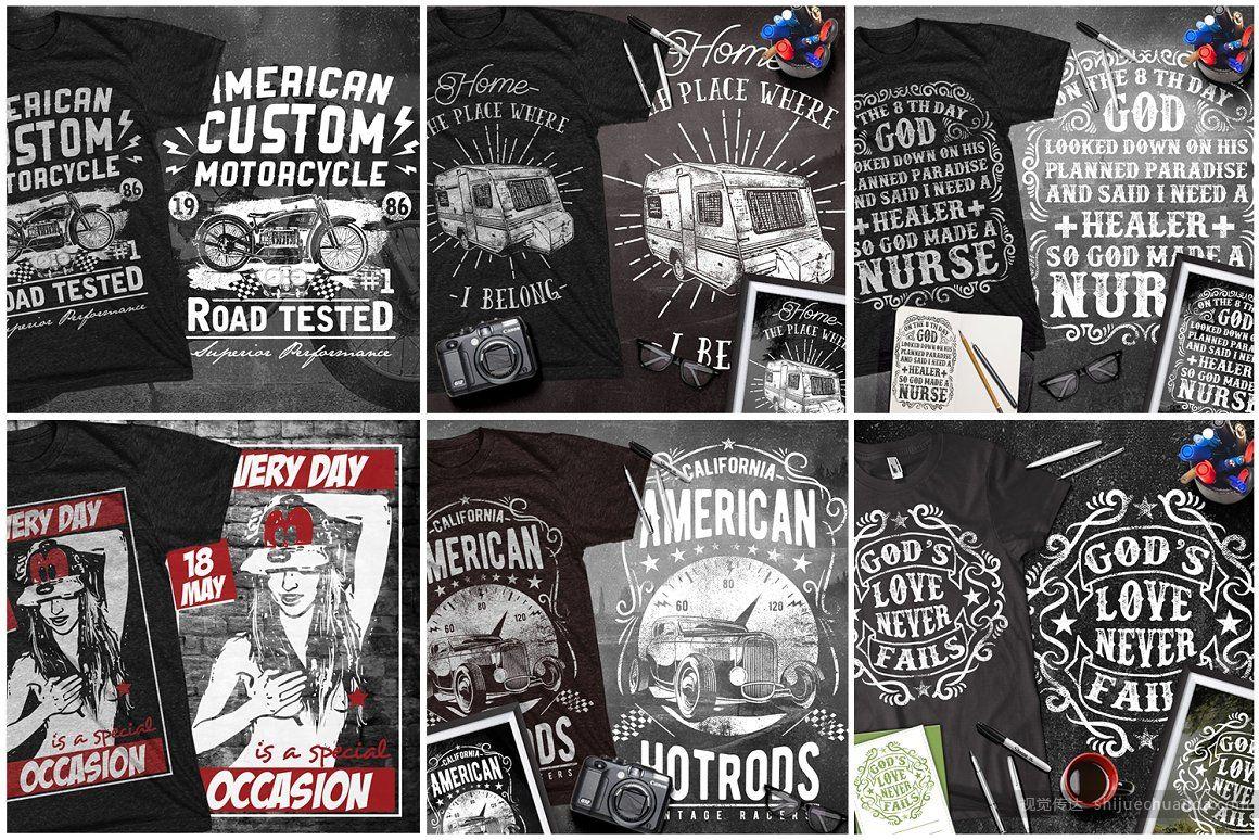 100个T恤设计矢量图案