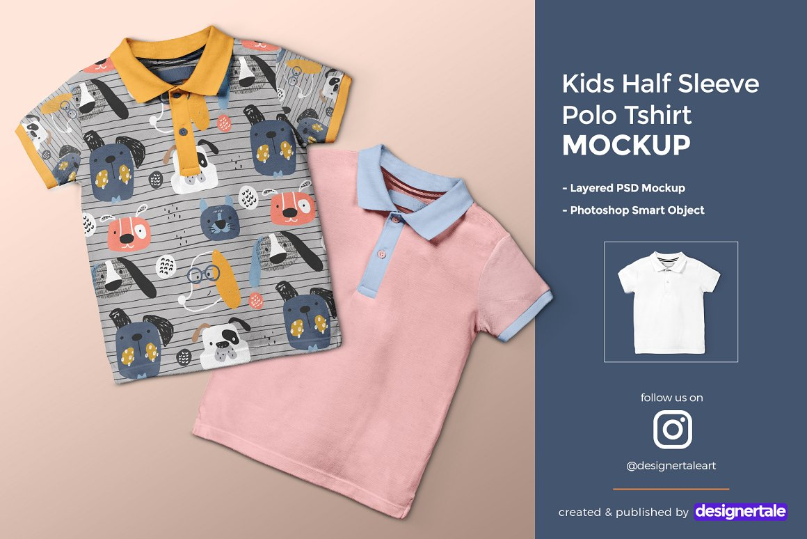 儿童半袖Polo T恤样机模板