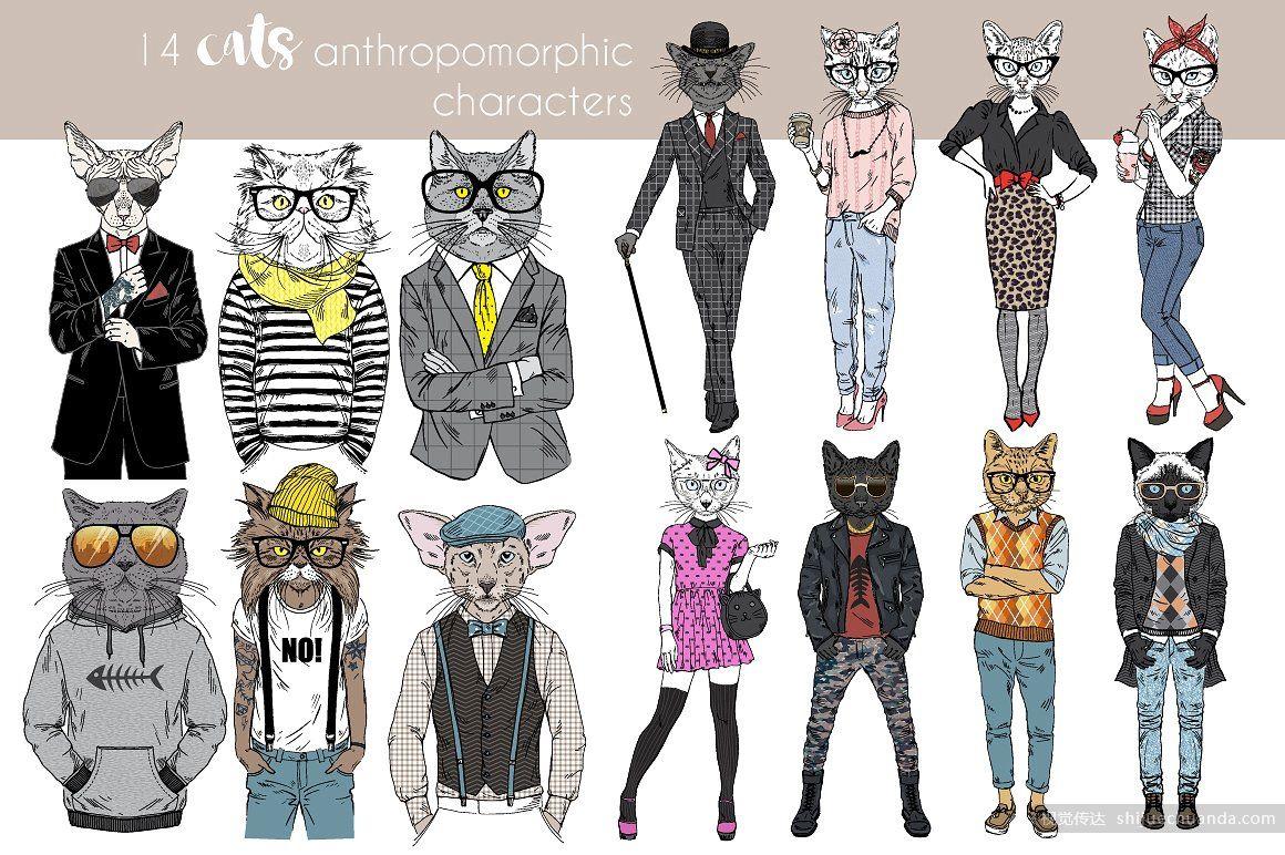 时尚拟人化动物矢量素材