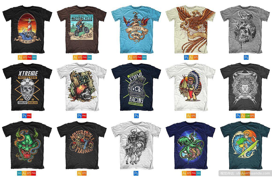 100个T恤设计矢量图集下载