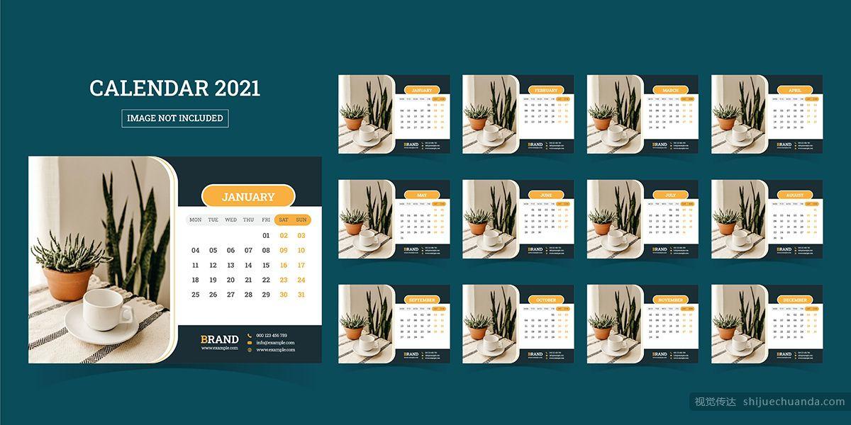 2021年桌面日历矢量素材