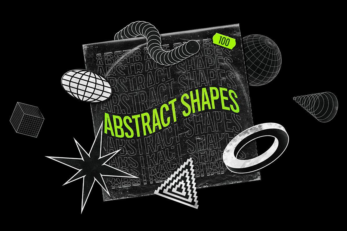 100个抽象形状设计元素集合