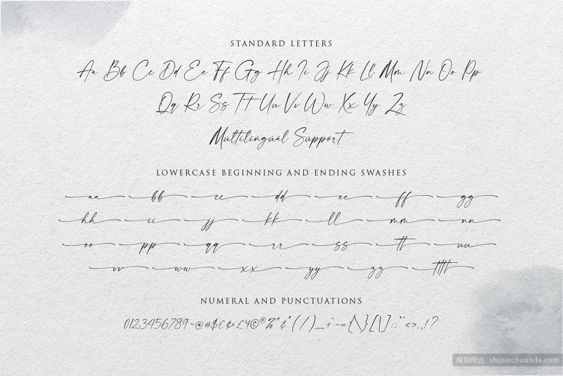 现代线性手写字体