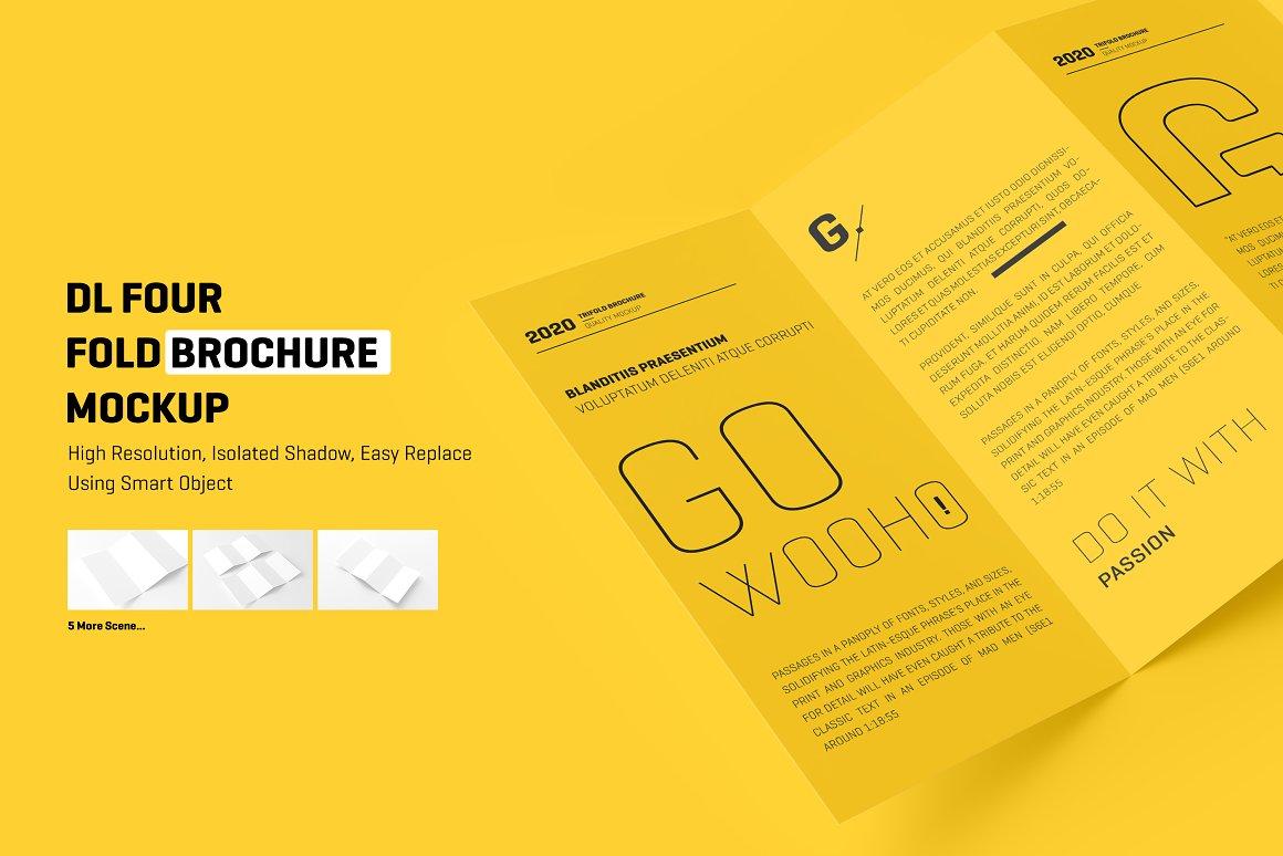 8个四折页小册子样机模板 DL 4 Fold Brochure Mockup