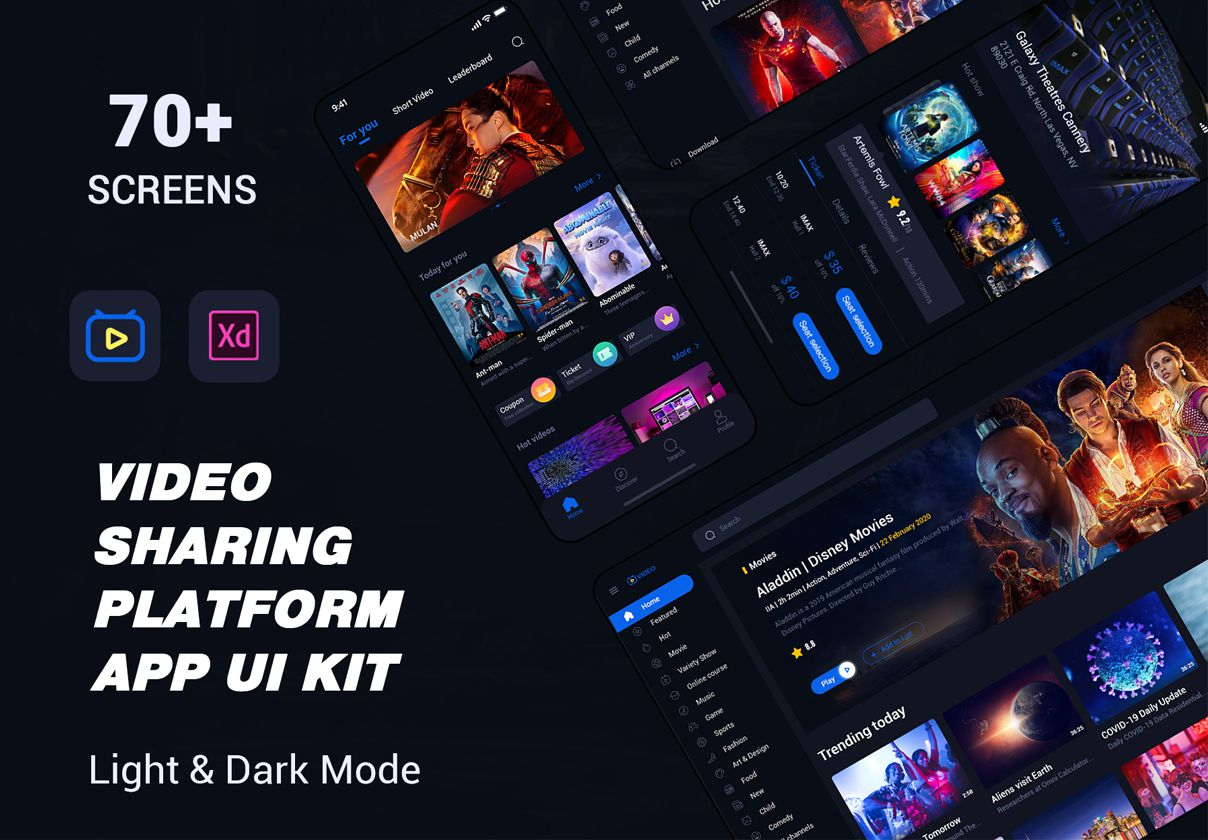 视频共享平台 APP UI 套件 video sharing platform APP ui kit