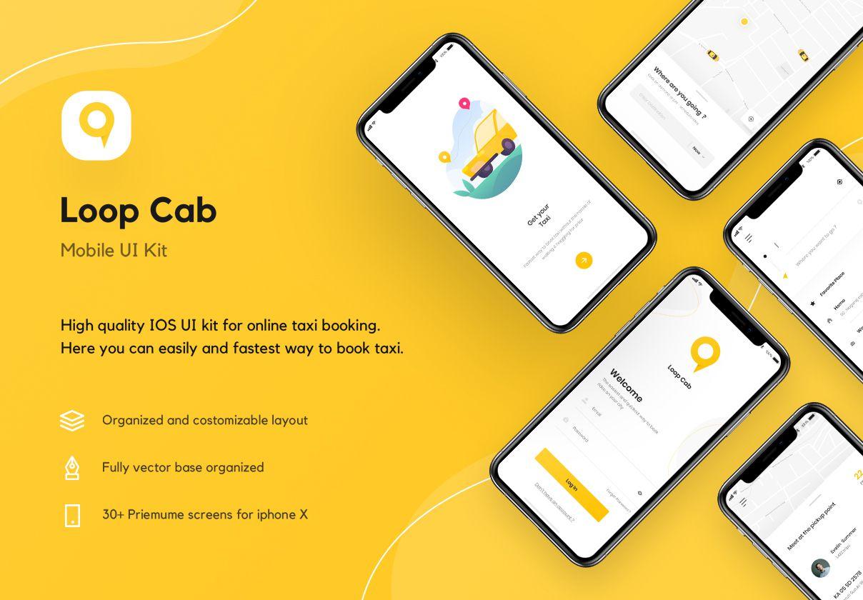 出租车预订应用程序UI套件 Loop Cab