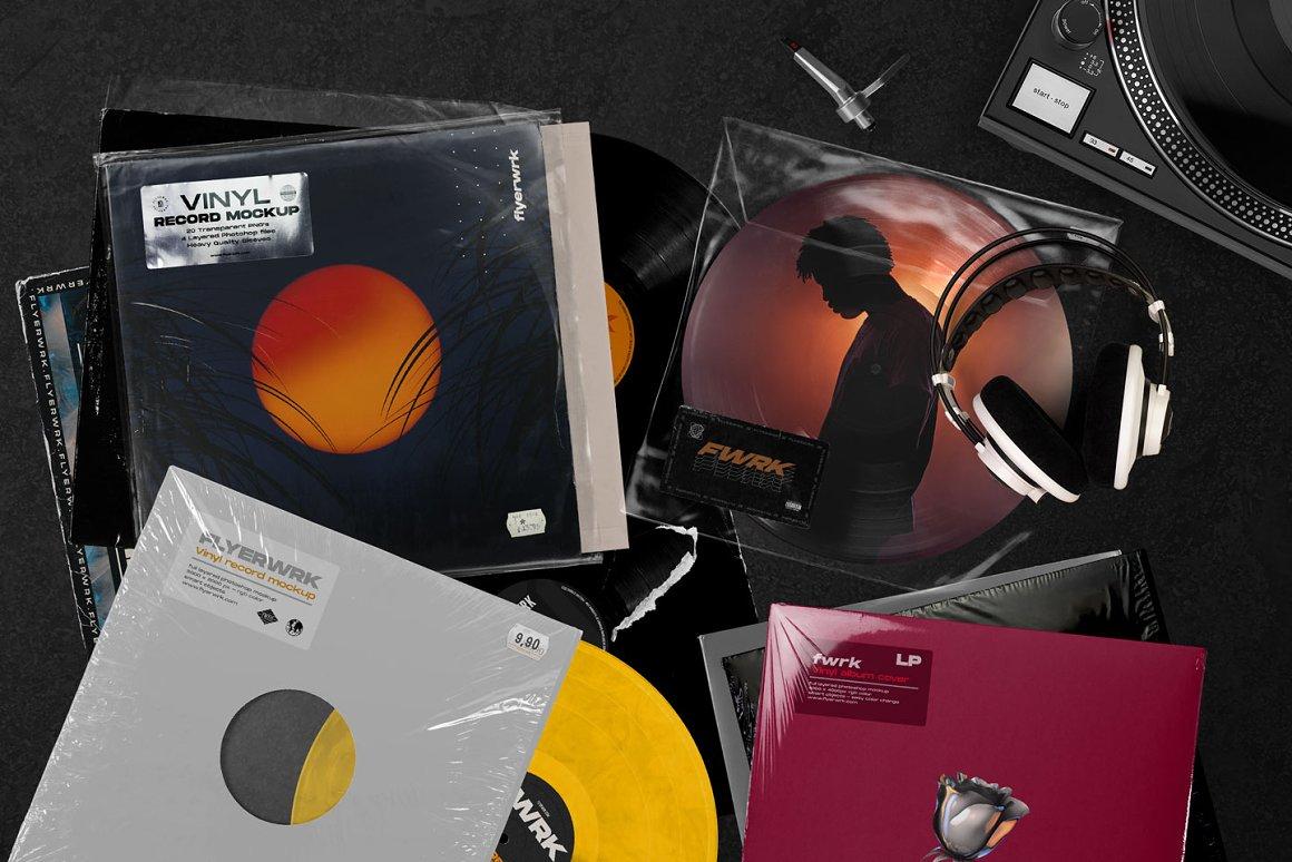 复古黑胶唱片包装样机 Retro Vinyl Record Mockup