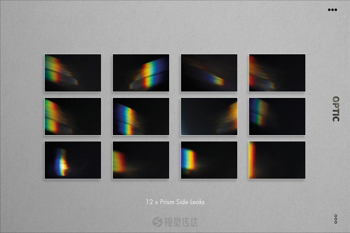 76张模拟棱镜光泄漏和彩虹漏光效果的集合