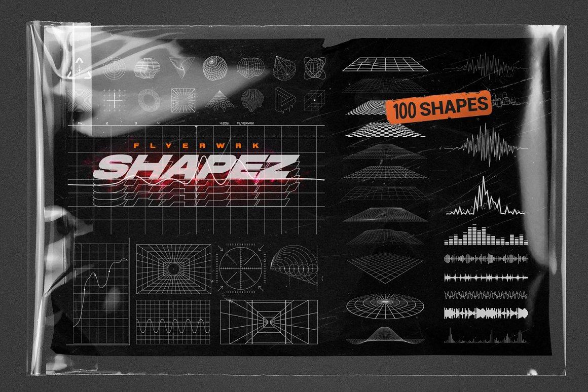 100个复古抽象未来派形状 Retro Futuristic Shapes