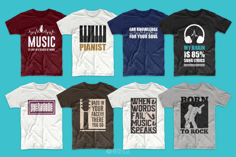 104个音乐T恤设计图形包