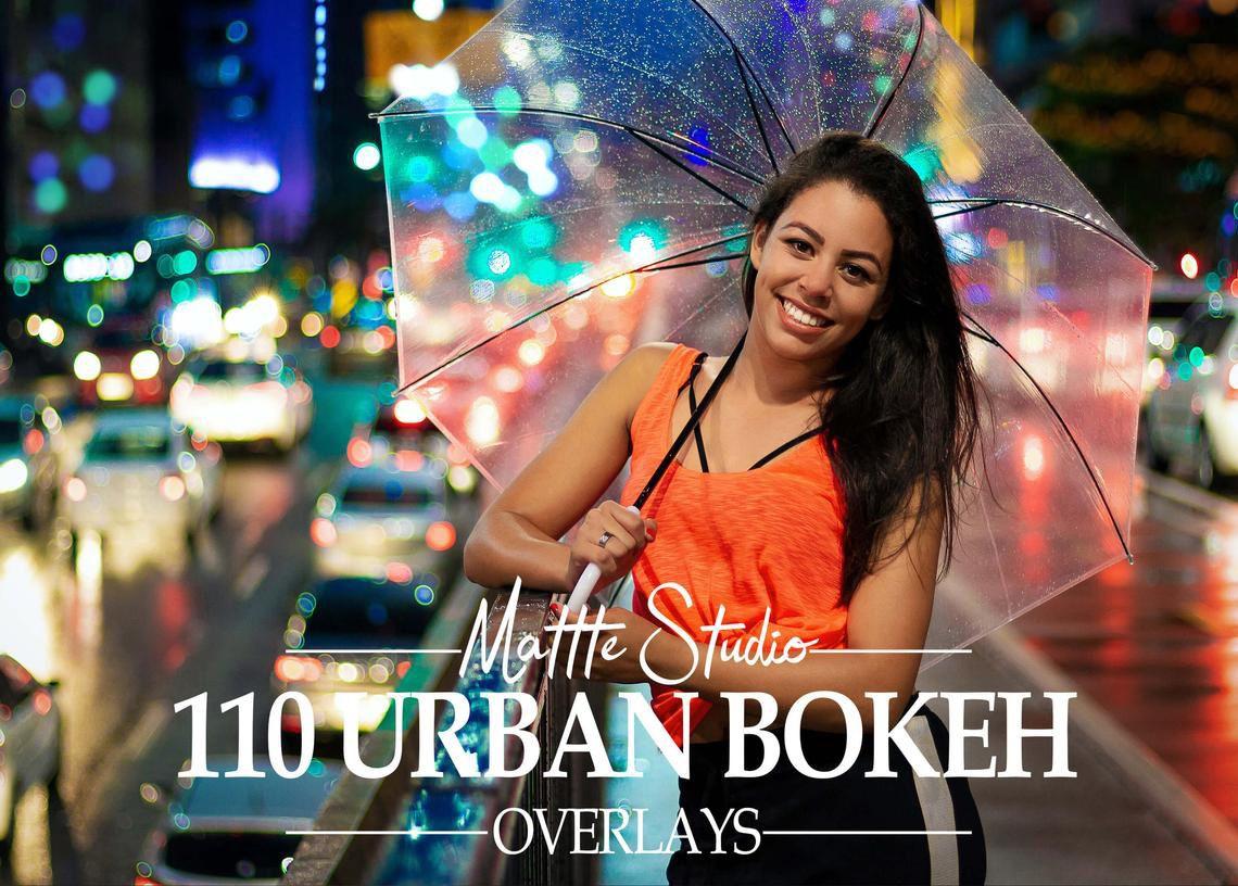 110张散景照片叠加层 Urban Bokeh Overlays, Street Overlay