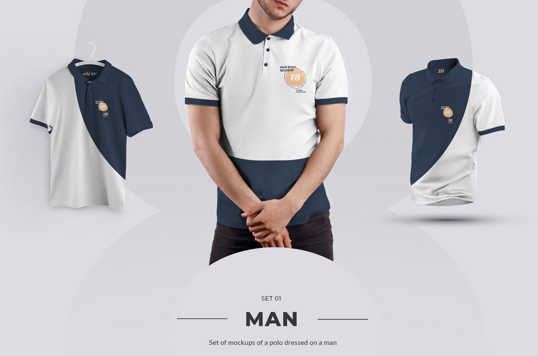 24个男士Polo衫样机模板 Polo Men Mockup