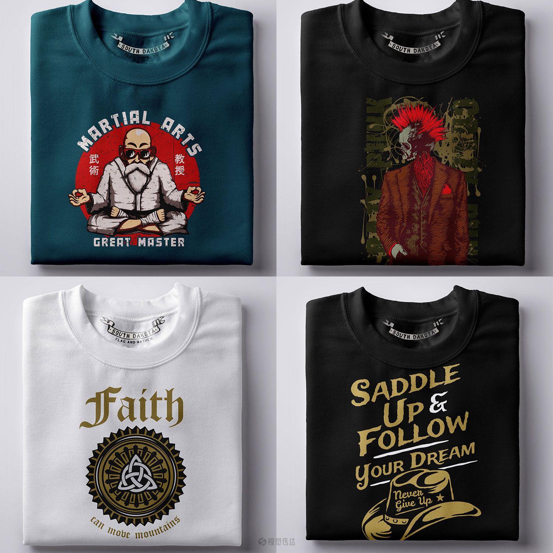 50种T恤设计矢量图案合集