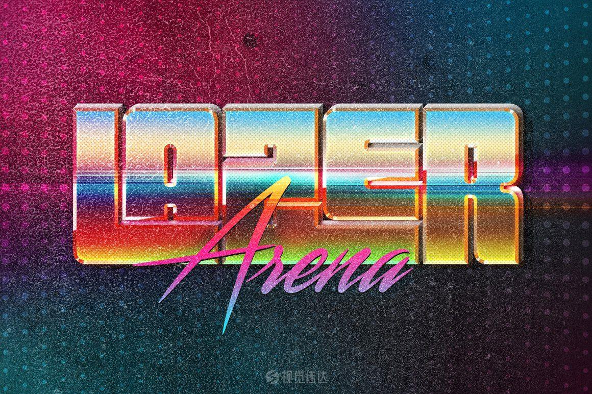 80年代文字效果样机模板