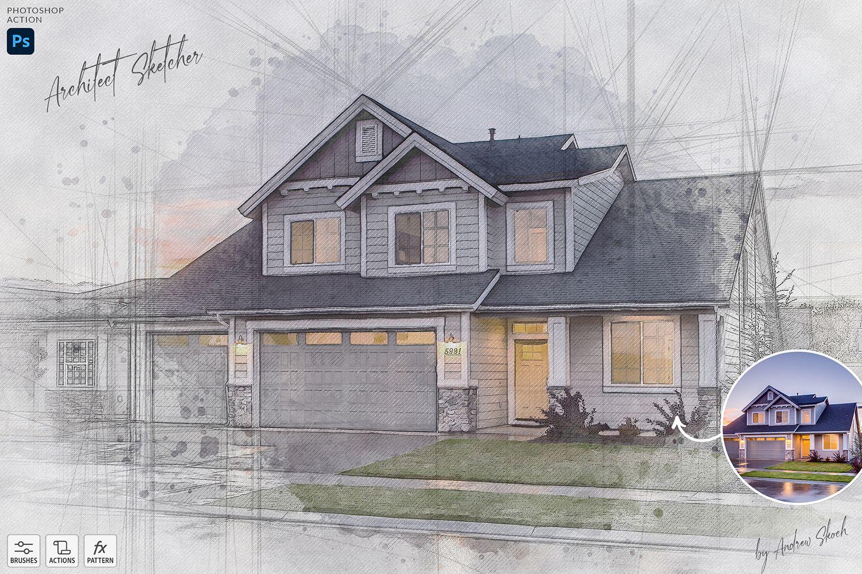 逼真的建筑素描PS动作 Architect Sketcher-Photoshop Action