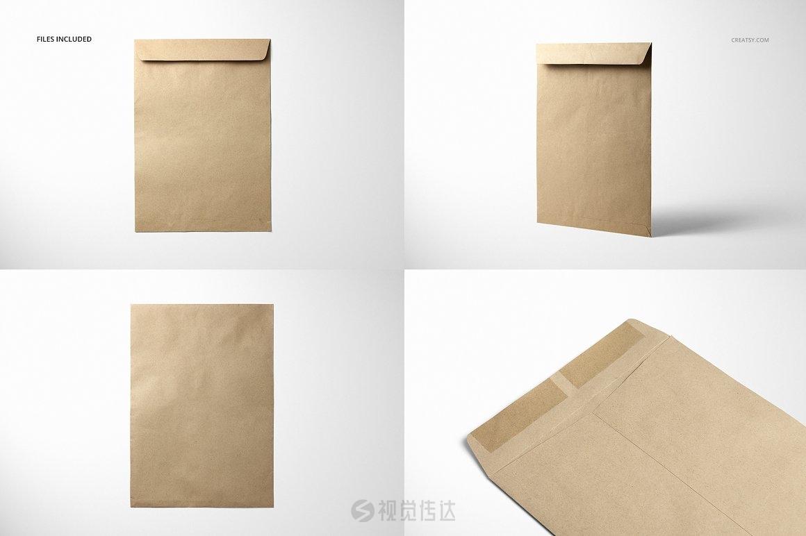 牛皮纸信封样机集
