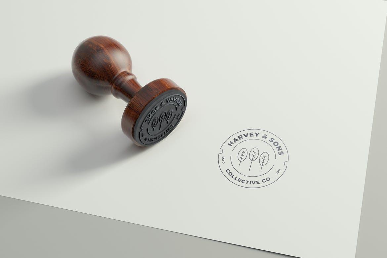 方形橡皮印章徽标样机