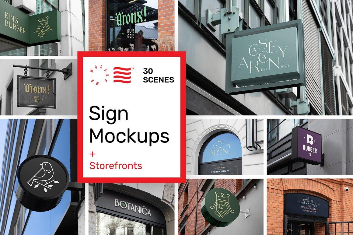 30个店面招牌样机模板 Sign Mockups and Storefront Mockups