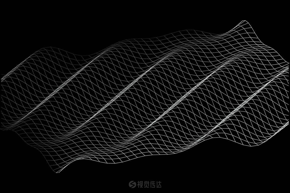 30种抽象波形,网格矢量科技线条