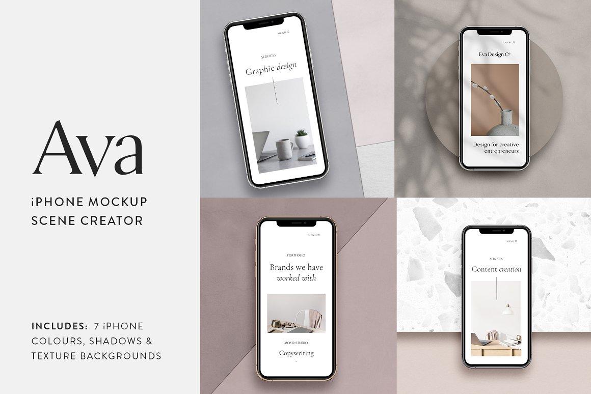 苹果手机样机场景创建器 Ava-iPhone Mockup Scene Creator