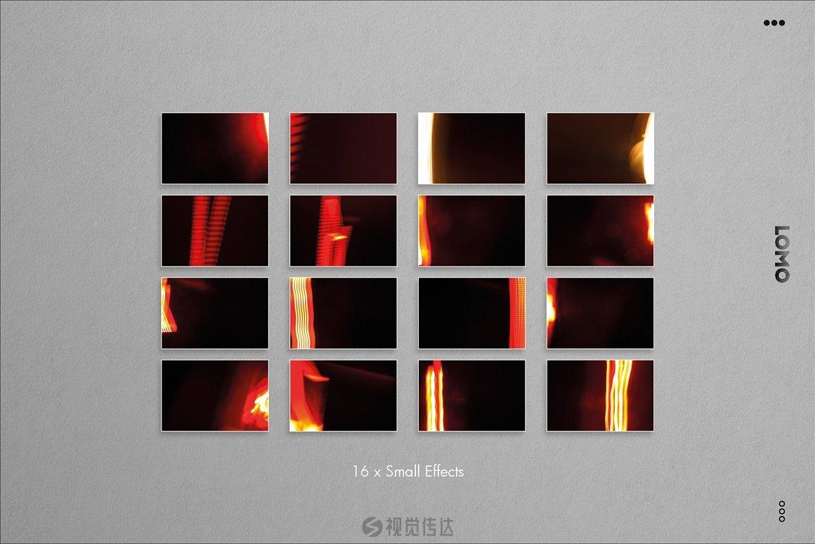 100多个模拟漏光和FX效果叠加层