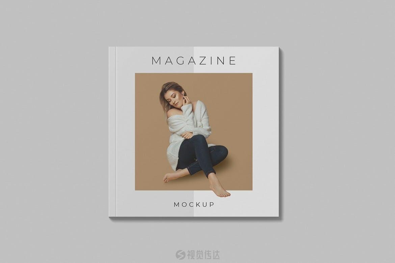 真实的方形杂志画册样机