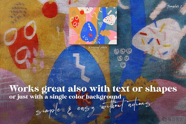 水彩画笔,纹理,图案,形状和样机模板