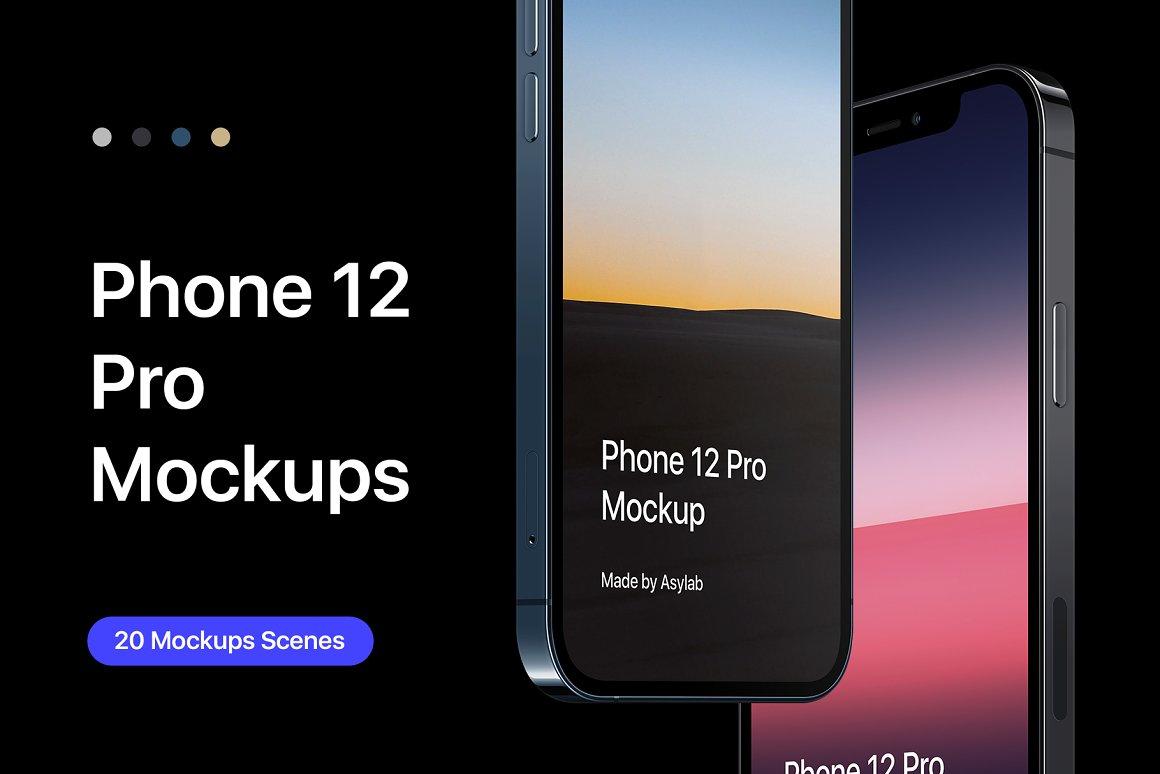 20个 iPhone 12 Pro 场景样机模板 Mockups Scenes