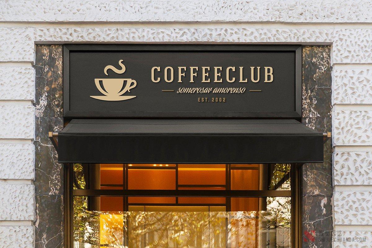 咖啡馆和咖啡店的LOGO样机模板