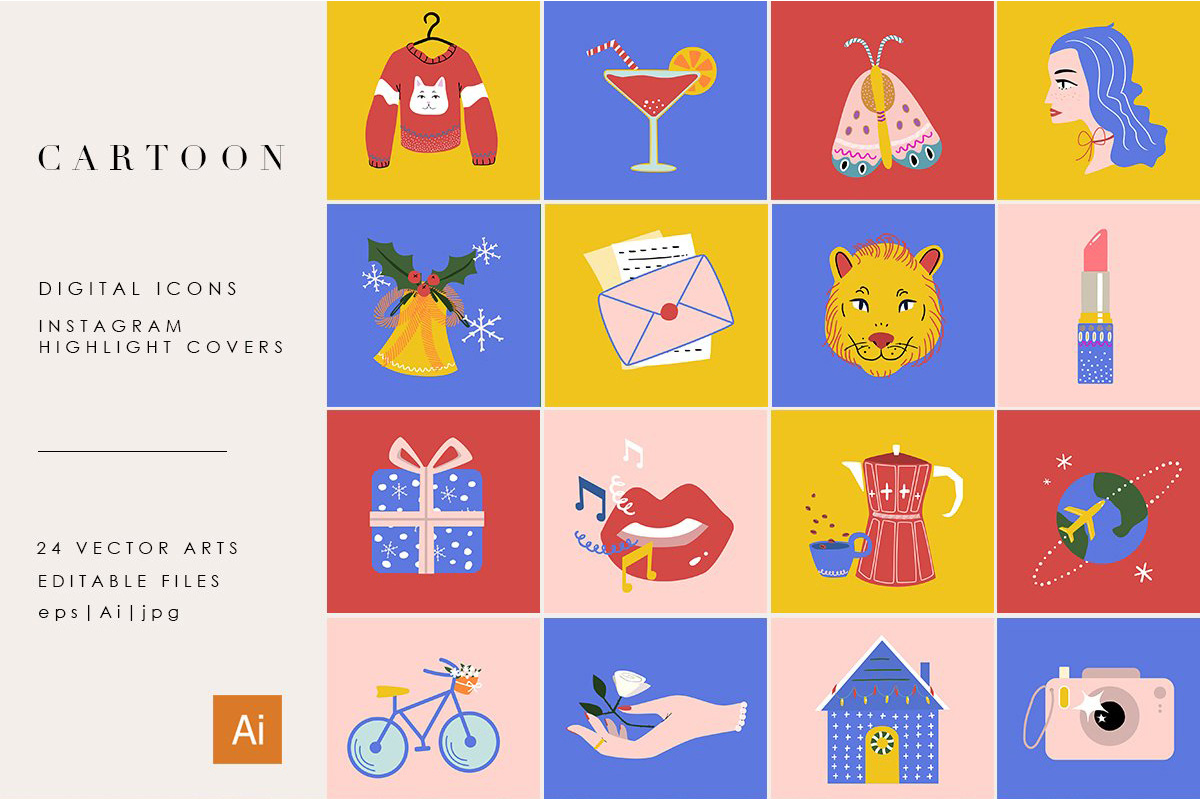 圣诞假期冬季手绘图标 Christmas Holiday Winter Icons