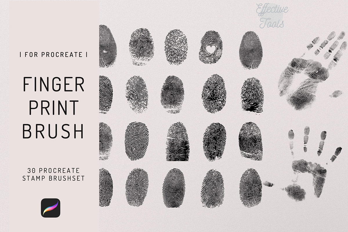 30个指纹图章Procreate笔刷 Fingerprint Stamp Brush
