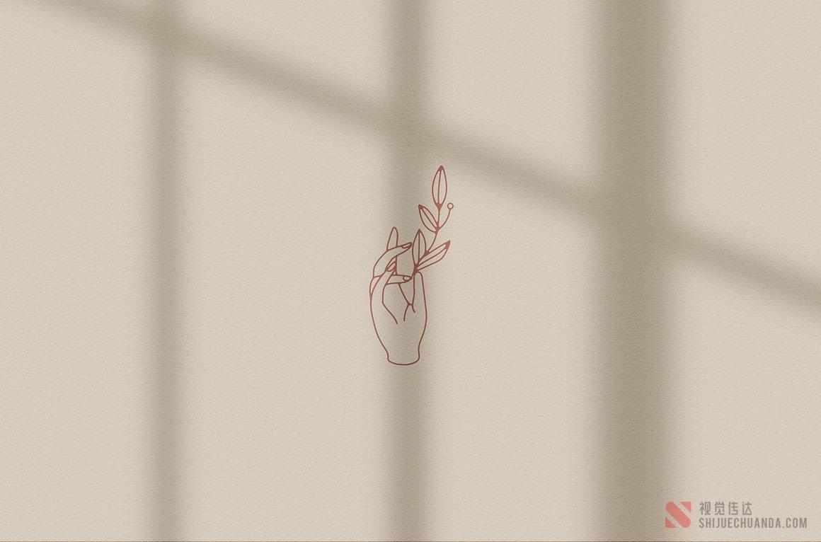 手形矢量线稿徽标元素
