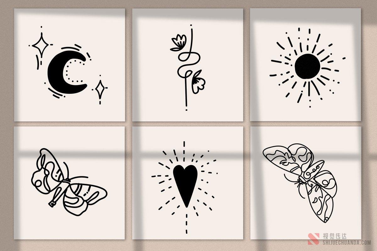 线条艺术抽象徽标套件