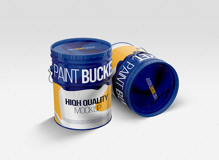 12个油漆桶样机 Paint Bucket Tin Mockup